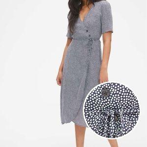 Short Sleeve Side-Button Midi Wrap Dress